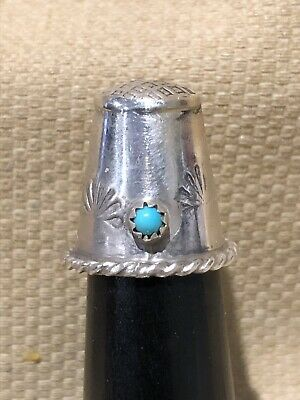 Vintage Sterling Silver Navajo Type design Thimble With Turquoise