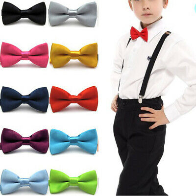 Boys Kids Children Satin Adjustable Pre Tied Band Kids Bowtie Bow Ties School