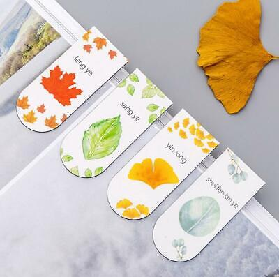 4pcs Leaves Magnetic Bookmark Creative Student Book Folder School Office Supply