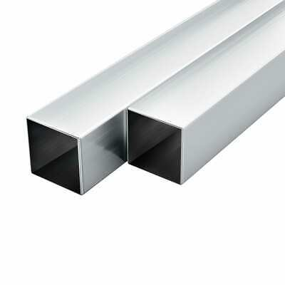 vidaXL 6x Aluminium Tubes Square Box Section 2m 20x20x2mm Hollow Rod Pipe