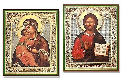 "PAIR Christ the Teacher and Virgin of Vladimir Wooden Russian Icons 4 1/2"" Gift"