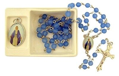 Catholic Girls Frosted Blue Prayer Bead Rosary with Miraculous Medal Gift Set