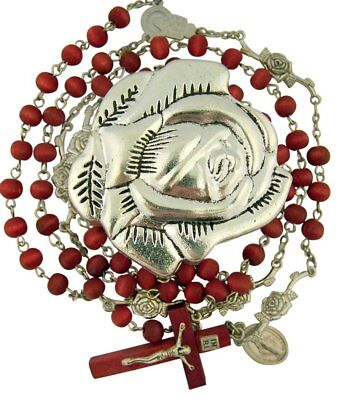 Rose Scented Wooden Prayer Bead Rosary in Metal Rosebud Jewelry Case Gift Box