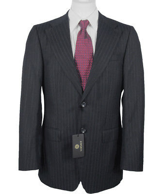 NEW! Gianni Versace Couture Striped Suit!  e 54 US 44  Wool & Silk  Navy  Italy