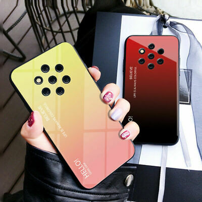 Gradient Tempered Glass Case For Nokia 9 PureView 7.1 7 Plus Hybrid Hard Cover