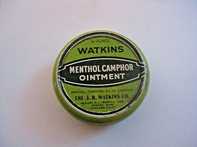 Vintage Watkins Menthol Ointment Advertising Medicine Tin ~ Check Out Our Tins