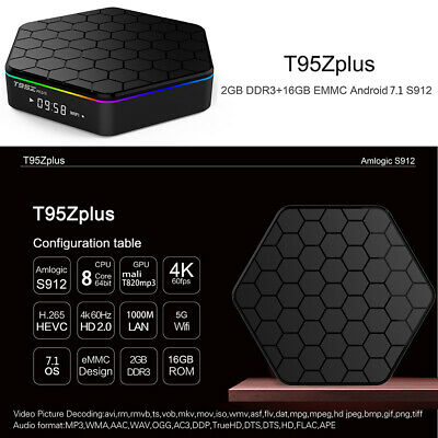 T95Z Plus TV BOX Android7.1 17.3 Media Player S912 Octa Core 4K Dual WIFI Y4F2Q