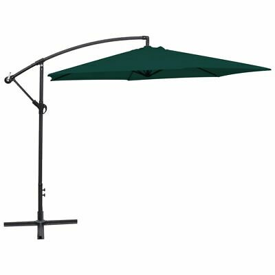 vidaXL Cantilever Umbrella 3m Green Outdoor Garden Hanging Parasol Sunshade