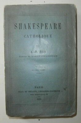 Libro antico William Shakespeare catholique 1875 prima edizione