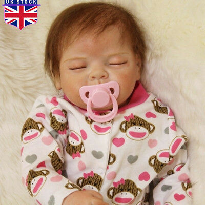 "22"" Soft Silicone Vinyl Handmade Baby Lifelike Reborn Sleeping Doll Girl  UK"
