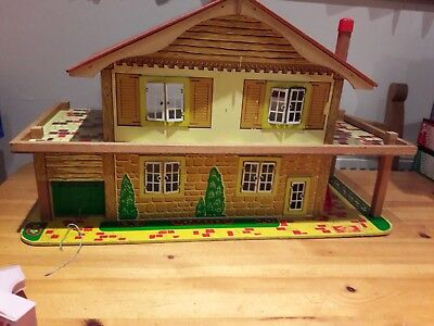 Vintage 1970s  Gee Bee  Dolls House With Garage plus dolls and vintage furniture