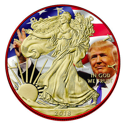 2018 1 Oz American Eagle Silver Coin .999 Trump Edition Coin 24K Colorized Coa