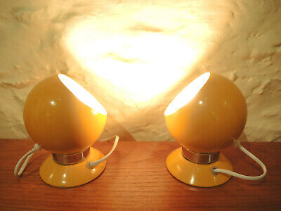 Vintage Pair Danish Modern ABO Randers Ball Light Sconce Lamp Bright Yellow