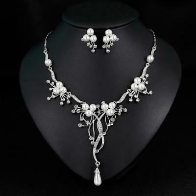 Wedding Bridal Rhinestones Necklace Earrings Jewelry Sets for Women Prom