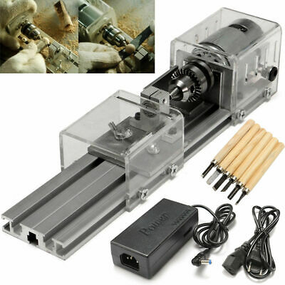 DC 24V Mini Lathe Beads DIY Machine Woodworking Lathe Standard Set with Power