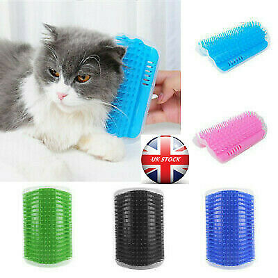 Pet Dog Cat Wall Corner Rubber Massage Comb Toy Self Groomer Cleaner Brush WANG