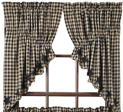 Black Star Prairie Swag Curtains 72WX36L Lined Scalloped Khaki Check VHC BRANDS