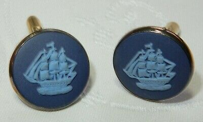 Vintage Wedgwood Blue Jasperware Gents Silver Cufflinks Blue Peter Sailing Ships