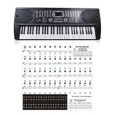 Transparent Music Keyboard Piano Stickers 88/61/54 Key Removable White Stickers