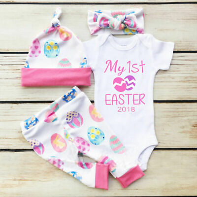 UK Toddler Baby Girl My First Easter Bunny Egg Romper Pants Headband Hat Outfits