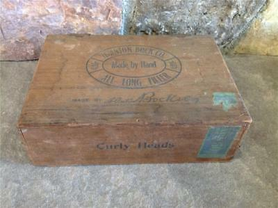 Vintage H. Anton Bock Co. Wood Cigar Box, Hinged Top, Queens, Pa. Collectible