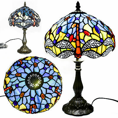 TIFFANY Table Lamp Antique Style Multi Colour Bed/Living Room Hand Crafted