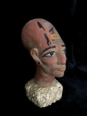 EGYPTIAN ANTIQUES STATUE Meritaten Akhenaten Daughter Carved Stone 1356-BCE