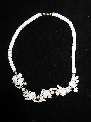 Puka Shell Statement Necklace Choker Pink White Hawaiian Mermaid Beach Summer
