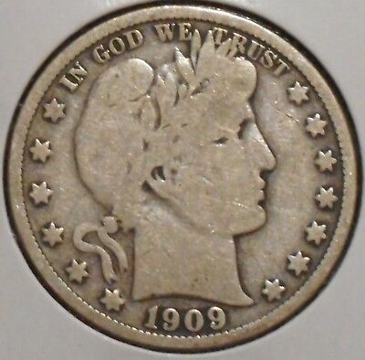 Barber Half - 1909 - Overstock Sale! - $1 Unlimited Shipping -529