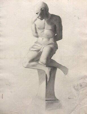 19Th Century French Realist Atelier Academie Drawing - Male Nude Seated