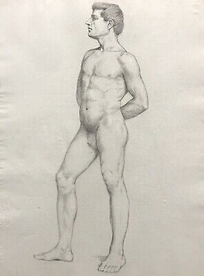 19Th Century French Realist Atelier Academie Drawing - Muscular Male Nude