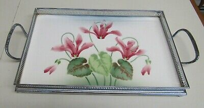ANTIQUE BMF GERMANY PORCELAIN and SILVERTONE METAL SERVING TRAY  1932