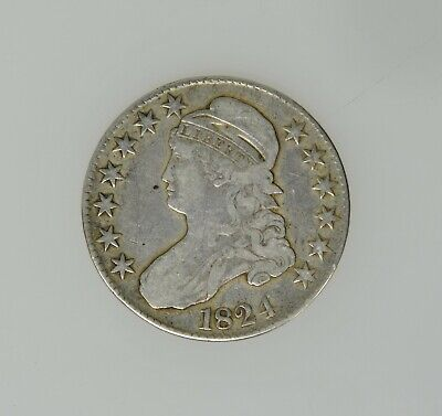 1824 Bust Half Dollar Fine + Condition Great Eye Appeal Beautiful Coin