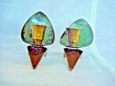 Pair Of Oppenheim & Brass Candle Holders Made In Israel