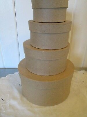 "Paper Mache Round Box Set 4 Sizes 7 3/4"" 6"" 5"" 4"" Crafts Crafting Cardboard"