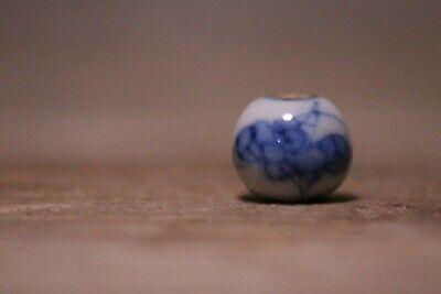 Antique Japanese Blue and White Porcelain Ojime Netsuke