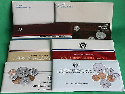1980 thru 1989 Annual US Mint Uncirculated P+D Lot of 8 Coin Sets with 86 Coins