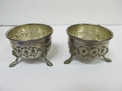 B & M Sterling Silver Ornate 2 Hand Chased # 29 3-Footed Salt Cellars Xlnt Cond