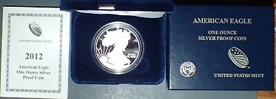 2012-W US MINT PROOF AMERICAN SILVER EAGLE 1 t.o. Silver - W/BOX & COA ASEP2012