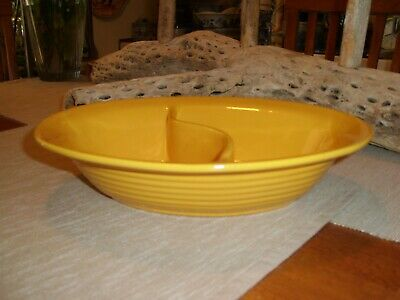 Vintage Bauer Pottery Ringware Chinese Yellow Divided Serving/Vegetable Bowl