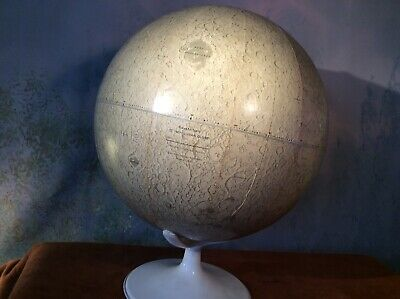"""Rand McNally 12"""" Inch Lunar Globe w/ Stand Moon Space Age Map Gray vintage"""