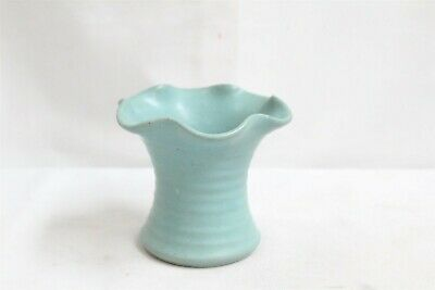 Arts Crafts Dickota Hand Thrown Rings Turquoise Fluted Art Pottery Planter Vase