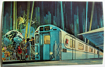 1964 New York Worlds Fair Subway Car Post Card BEGIN THE FAIR AT TIMES SQUARE