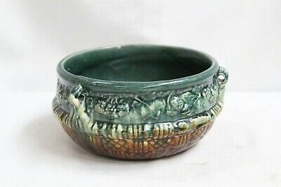 Arts Crafts American Majolica Berries Leaves Basketweave 3 Handle Pottery Plant