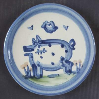 M A Hadley COUNTRY SCENE BLUE Pig Bread & Butter Plate 5813582