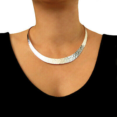 Wide Solid 925 Sterling Silver Hammered Choker Torc UK Hallmarked