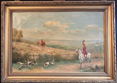 Fine Antique English Oil Painting - Huntsmen & Hounds Riding Through Countryside