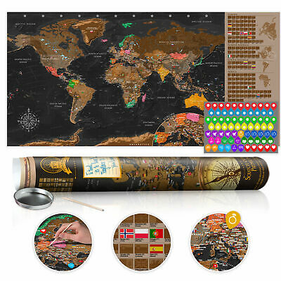 """Scratch Off World Map 39""""x17"""" Wall Poster Map for Scratching Travel k-A-0216-o-b"""