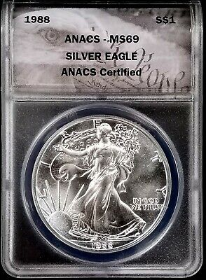 1988 American Silver Eagle certified MS 69 by ANACS! NO RESERVE!