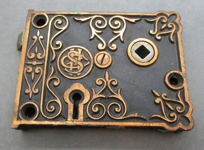 Antique Victorian Eastlake Shapleigh Hardware Ornate Door Hardware Iron Rim Lock